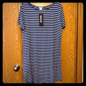 Yelete Dress Navy White Stripe Size L